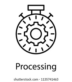 line icon design of speedometer inside cog indicating efficiency measure