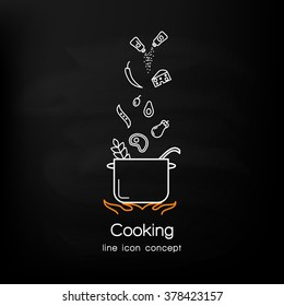 Line icon design of web banner template with outline icons of master class for culinary art cooking process.Modern vector illustration concept for website or infographics.
