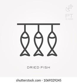 Line icon dried fish