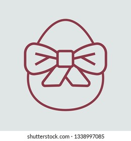 Line icon egg with bowknot