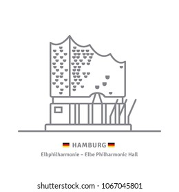 Line icon of Elbphilharmonie Concert Hall at Hamburg, Germany with German flags
