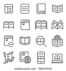 line icon electronic book concept. editable stroke. vector illustration