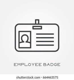 Line icon employee badge