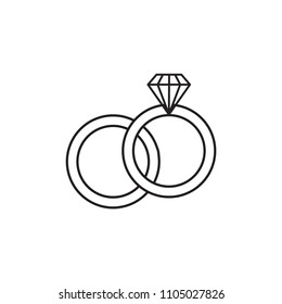 Line icon engagement rings