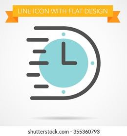 Line icon with flat design , Efficiency