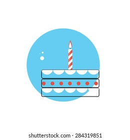Line Icon with Flat Graphics Element of Birthday Cake Vector Illustration EPS10