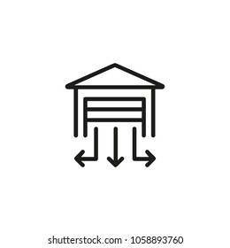 Line icon of garage with direction arrows. Gateway, parking, road sign. Transport concept. Can be used for topics like business, transportation, automobiles