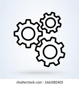 Line icon gear engine settings. Vector machine illustration.