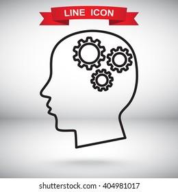 Line icon-   gear in head
