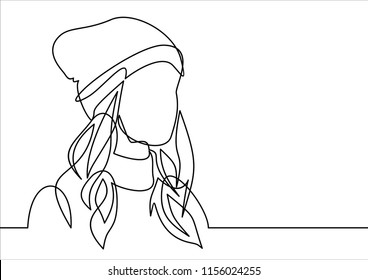 Line icon girl in winter hat-continuous line drawing