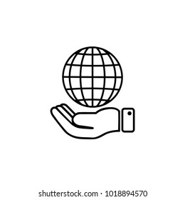 Line icon- Globe and hand