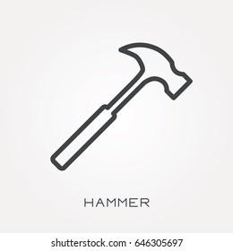 Line icon hammer
