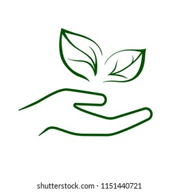 Line icon of hand carefully holding green leaves. Symbol of ecology, environmental awareness, nature protection concept. Vector Illustration