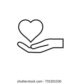Line icon. Hand holding heart