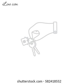 Line icon-  hand with keys