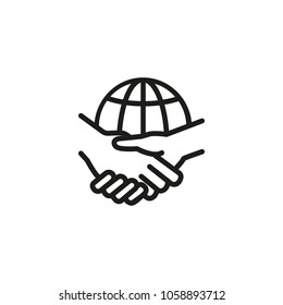 Line icon handshake against globe. International partners, global business, contract between international companies. Deal concept. Can be used for topics like business, communication, internet