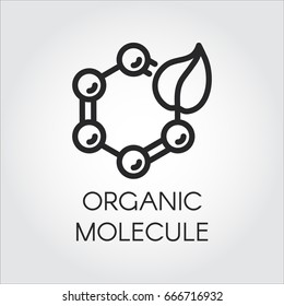 Line icon of leaf and molecular compound symbolizing organic technology. Simplicity black emblem of science, nature and chemistry theme. Vector logo