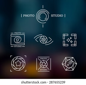 Line icon and logo set for photographer  and photo studio