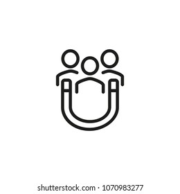 Line icon of magnet attracting people. Client attraction, customer retention, advertising campaign. Promotion concept. For topics like business, marketing, commerce