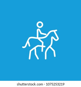 Line icon of man riding horse. Equestrian center, race track, horseracing. Sport and leisure concept. Can be used for web pictograms, design and application icons
