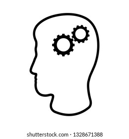 Line icon of man's head and cogwheels. Concept of rational and practical thinking. Vector Illustration