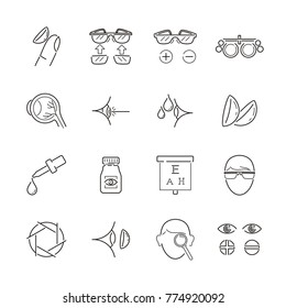 Line icon for medical optic, ophthalmologist, optometrist, optician and oculist. Clean, clear, modern and minimalist. Include eyeglasses, contact lens, retina, laser, eye exam and other icon.