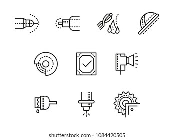 Line icon metalworking machines