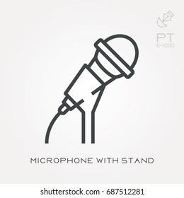 Line icon microphone with stand