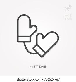 Line icon mittens
