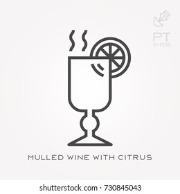 Line icon mulled wine with citrus