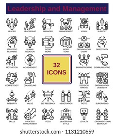Line icon no fill colour with leadership and management topic. This icon set use for website design, article illustration, ect