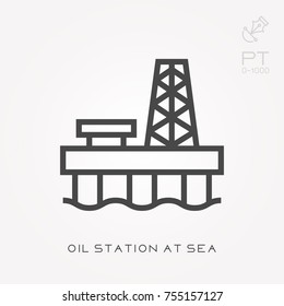 Line icon oil station at sea