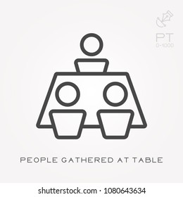Line icon people gathered at table
