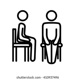 Line icon of person sitting in a chair sideways and front on