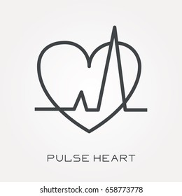Line icon pulse heart