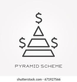 Line icon pyramid scheme