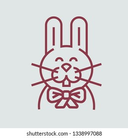 Line icon rabbit with bowknot