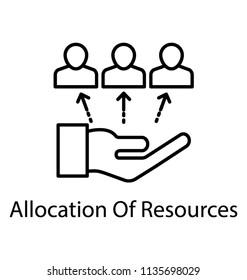 Line icon resource allocation. Resource management