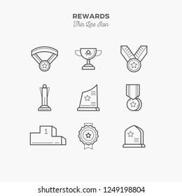 Line Icon of Rewards, Prise, Isolated Object. Line icons set.