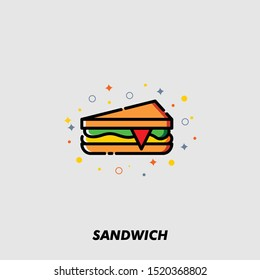 Line Icon of Sandwiche top view with tomato, onion, salad, cheese solid vector sign, snack for breakfast and lunch, flat vector illustration