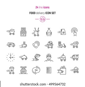 Line icon set of food delivery services elements. Modern design icons for web and app design and development