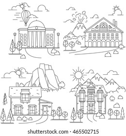 Line icon set of House in nature landscapes with mountains, volcano and Rocks. Vector illustration