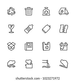 Line icon set of recycle, rubbish and pollution. Editable stroke vector, isolated at white background