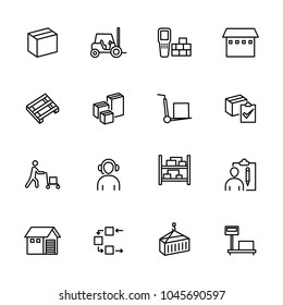 Line icon set related to activity at the wholesale. Contain such as worker, wholesale, stock moving goods and other