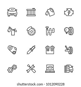 Line icon set related to car repairing and maintenance service. Contain symbol and activity of automotive business service. Editable stroke and isolated at white background vector