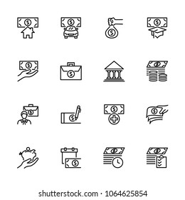 Line icon set related to fund and financing. Editable stroke vector. Pixel perfect. Isolated at white background