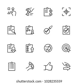 Line icon set related to Protocol of the quality control circle. Editable stroke vector, isolated at white background