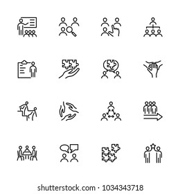 Line icon set related to team development, teamwork or team formation. Editable stroke vector, isolated at white background