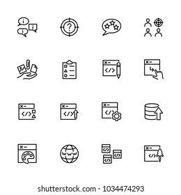 Line icon set related of web developing activity. Editable stroke vector, isolated at white background
