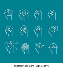 Line icon set representing symbols of human mind states. Mental health symbols, personality characteristics and psychological help.